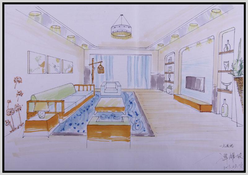 室内手绘效果图|五邑大学计算机培训中心