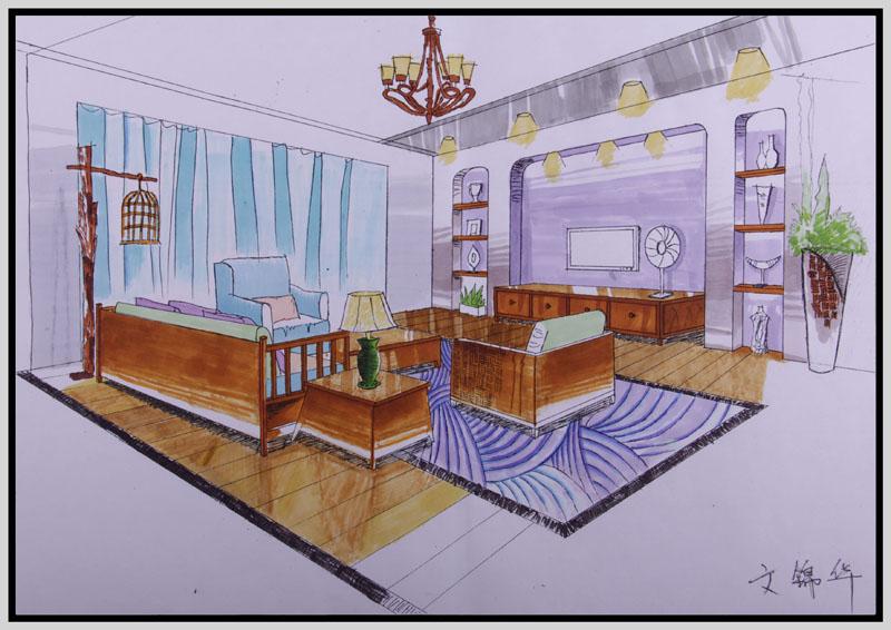 室内手绘效果图 五邑大学计算机培训中心