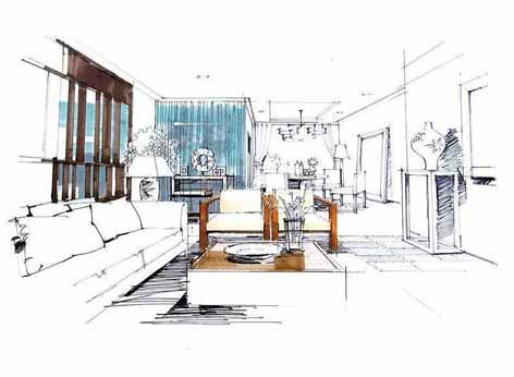 一点透视沙发手绘图_图片素材